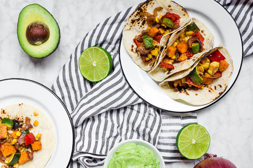 Roasted Veggie Tacos + Avocado Crema