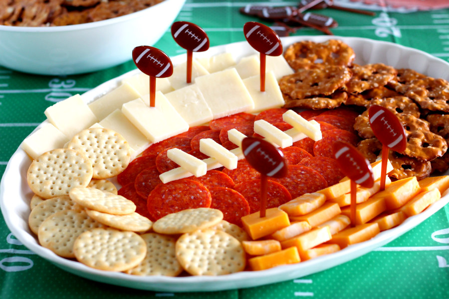 Cheese and Cracker Football Party Platter