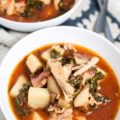 This Slow Cooker Tuscan Chicken Soup is a healthy weeknight meal that's simple to make. This budget-friendly comfort food is a cheap healthy meal the family will love. Nothing beats Crock Pot Chicken Soup on a cold evening!