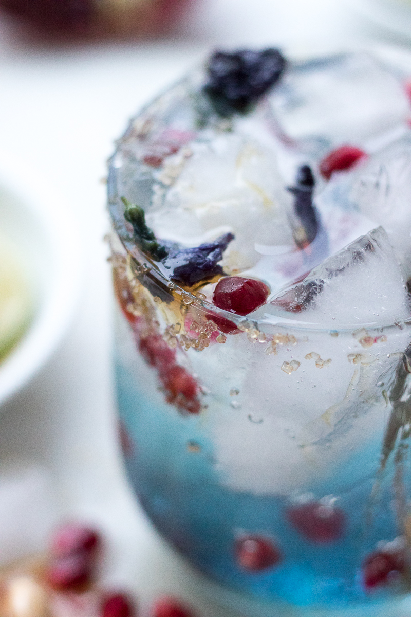 A total show stopper for happy hour, this Galaxy Cocktail has an all-natural indigo color from Blue Butterfly Pea Flower Tea. This color changing cocktail transforms from blue to purple to pink when you add citrus juice. A beautiful vodka-based cocktail that tastes as good as it looks!