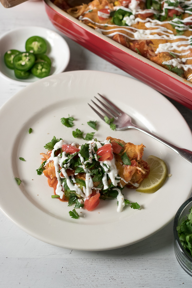 With the help of weekly meal prep, these Healthier Chicken Enchiladas are a 30-minute meal perfect for a busy weeknight dinner. Using just a few healthy ingredient swaps, this lightened up version of a traditional comfort food is simple, yet fancy enough for entertaining dinner guests.