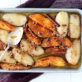 If you love seasonal produce, this Spiced Roasted Pears + Sweet Potatoes is the recipe for you! Serve as a hearty side dish or rustic dessert; either way, this one-pan dish is sure to be loved by all!