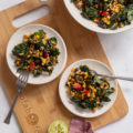 This Warm Southwest Farro Salad is a 30-minute meal that's perfect for a healthy weeknight dinner. This healthy comfort food combines pantry basics with fresh produce for a satisfying cheap healthy meal.