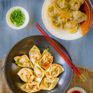 Vegetable Tofu Wontons in Chili Oil