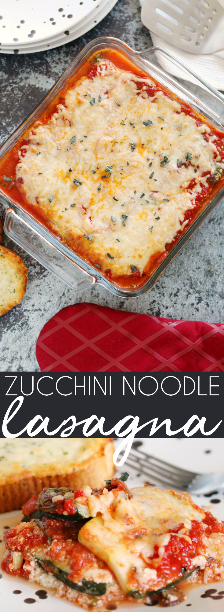 This Low-Carb Zucchini Lasagna is healthy comfort food at its finest. This Keto Diet approved dish uses zoodles to create a vegetarian lasagna that's a healthier classic to a high-carb pasta favorite.