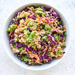 Make nutritious weekday lunches ahead of time when you meal prep this healthy and colorful Chopped Thai Peanut Quinoa Salad. This simple salad recipe is a 30-minute meal and a great way to save money and fuel your body with nutritious food.