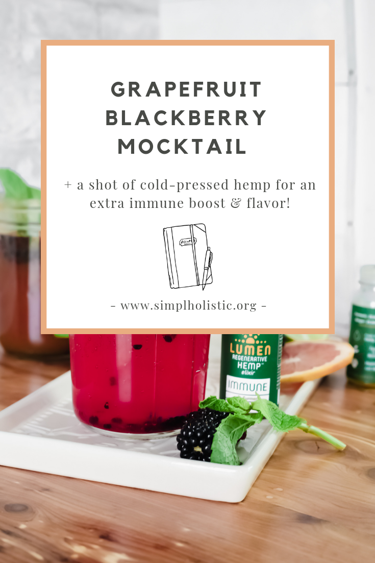 This Grapefruit Blackberry Mimosa Mocktail is perfect for summer entertaining since it contains no alcohol. Made with good-for-you ingredients, including a shot of hemp, this fruit-infused drink won't leave you feeling tired or bloated.