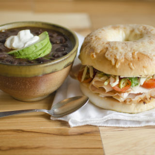 Recreate a deli favorite at home with this Turkey Asiago Bagel paired with Black Bean Soup. This budget-friendly, deli-style meal features smokey, cheesy, slightly spicy, and bold flavors!