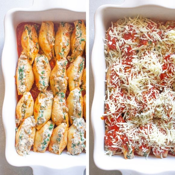 These Beef Lasagna Stuffed Shells are a budget-friendly meal. This simple dinner alternative to classic lasagna uses jumbo pasta shells stuffed with a beefy mozzarella and ricotta cheese filling that are baked in the oven for 45 minutes.