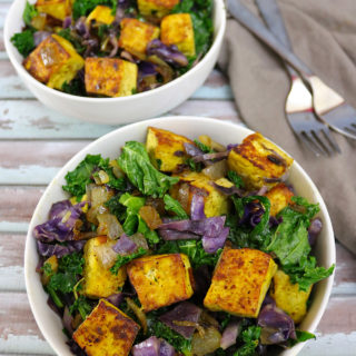 Spiced Tofu with Kale and Cabbage Salad