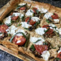 Step outside the traditional pizza box with flaky Roasted Vegetable Phyllo Dough Pizza recipe topped with savory vegetables, parmesan, and mozzarella.