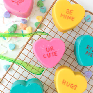 Conversation Heart Cake Bombs